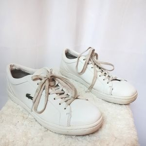Lacoste Straightset White Lace Up Canvas Shoes